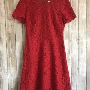 J Crew Floral Lace Overlay Fit Flare Dress SZ 0